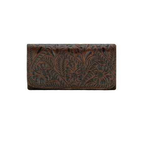 American West 6685282 Annies Secret Collection Ladies Tri-fold Wallet, Chestnut Brown