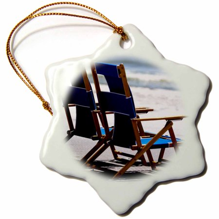 3dRose Beach Chairs, Umbrella, Ship Island, Mississippi - US25 FVI0023 - Franklin Viola, Snowflake Ornament, Porcelain, 3-inch