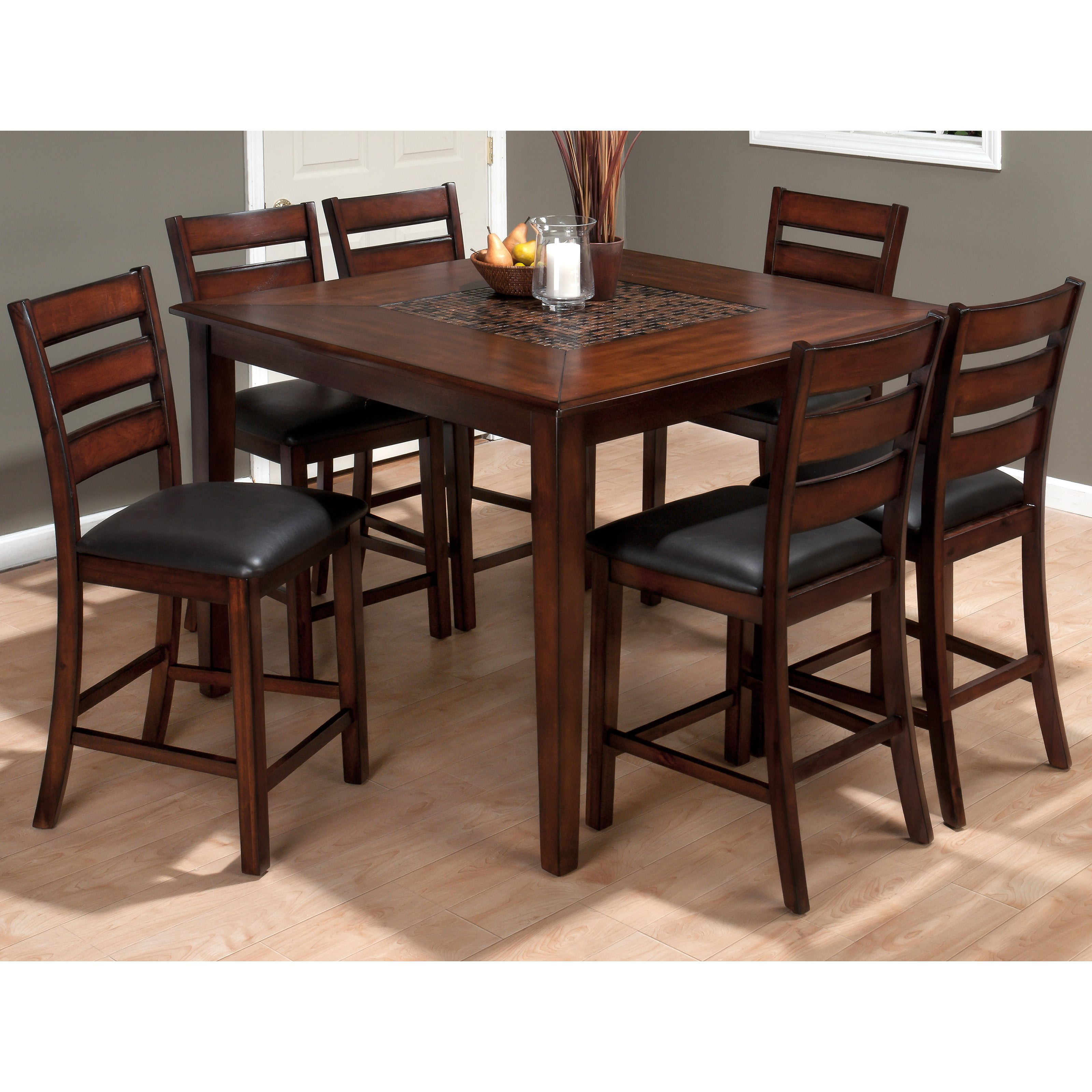 Jofran Baroque Brown 7 Piece Counter Height Dining Table Set   Walmart.com