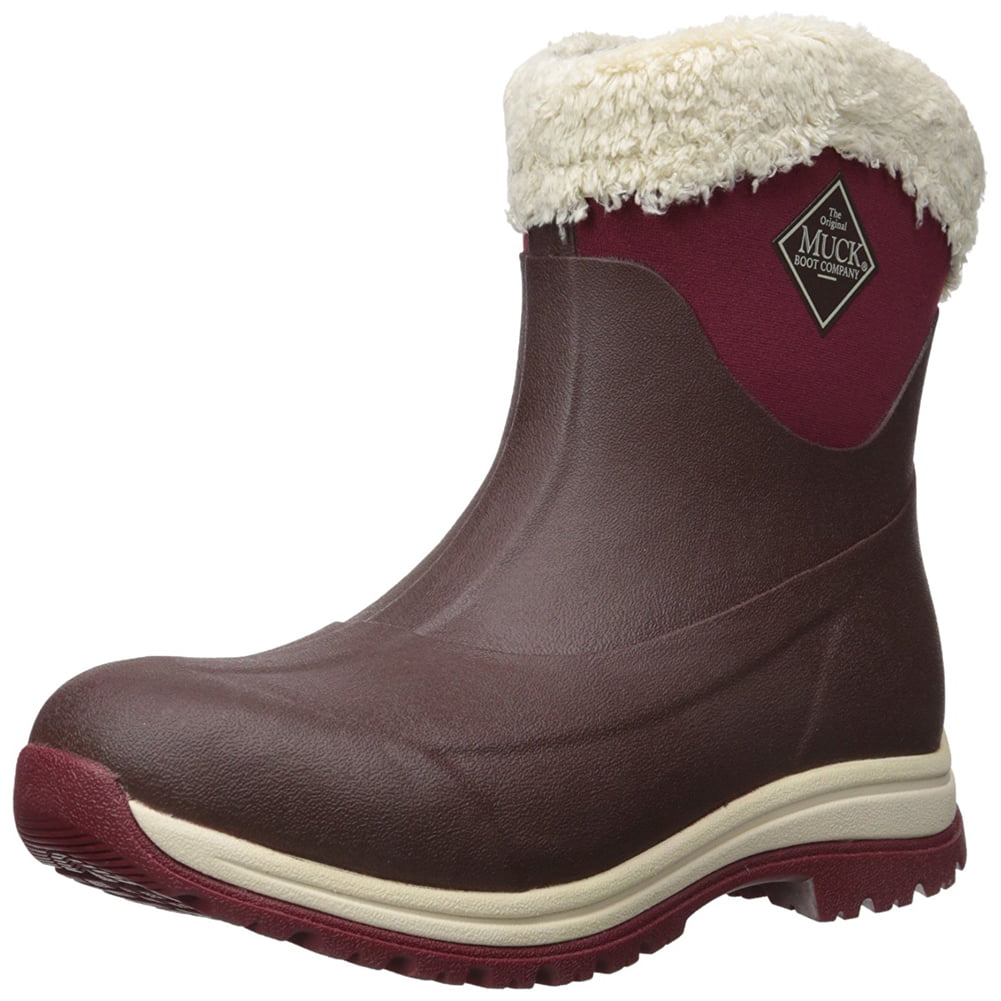 Muck Boot Women's Arctic Apres Slip-On Waterproof Snow Boots Brown Rubber Faux Fur Fleece 7 M