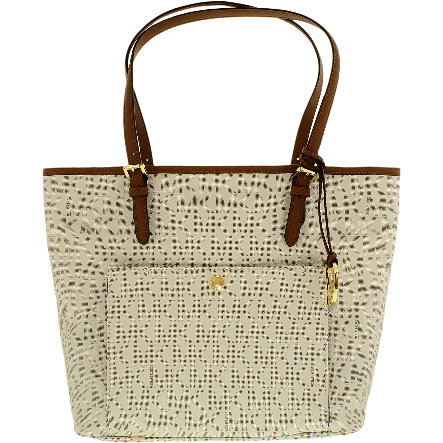 Michael Kors Women's Large Jet Set Snap Pocket Leather Top-Handle Tote - Vanilla