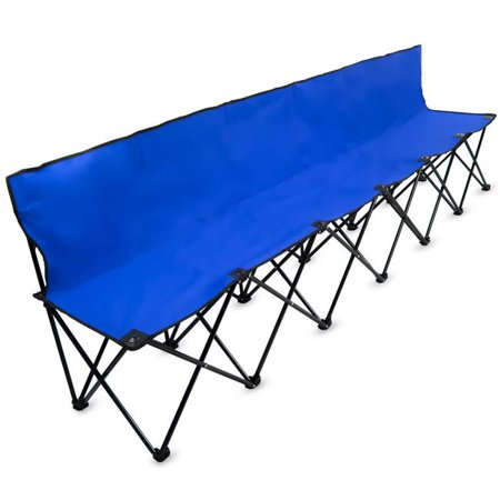 Astonishing 8 Ft Portable Folding 6 Seat Bench With Back Blue Dailytribune Chair Design For Home Dailytribuneorg