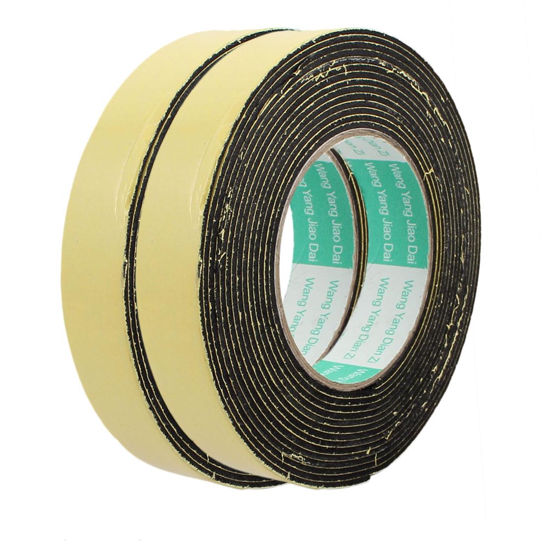 2pcs 5M 25mm x 2mm Single-side Adhesive Shockproof Sponge Foam Tape Yellow Black