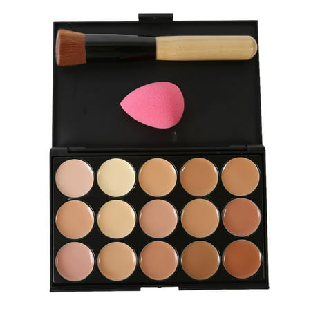 Big Saving/Clearance,15 Colors Face Concealer Contour Palette +Makeup Brush Sponge