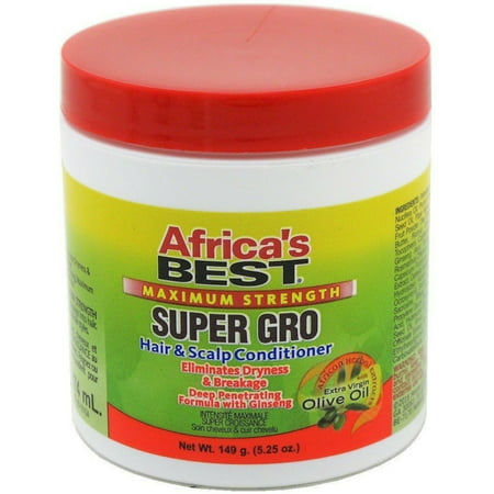 Africa's Best Maximum Strength Super Gro Hair & Scalp Conditioner, 5.25 (Best Way To Straighten African American Hair)