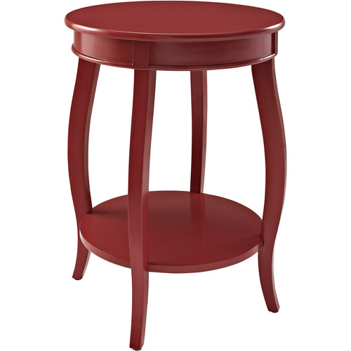 Round Side Table With Shelf, Multiple Colors