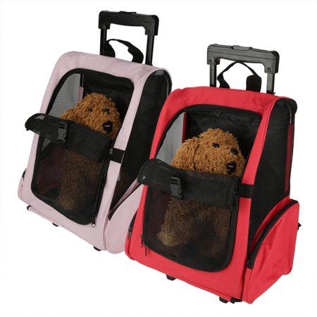Portable Pet Travel Carrier Bag Rolling Backpack Cat Dog Transporting Luggage Box Pink