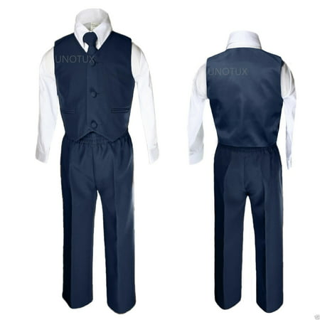 NEW INFANT, TODDLER & BOY  WEDDING FORMAL PARTY VEST SUIT NAVY Blue S-XL - Blue Suit Next