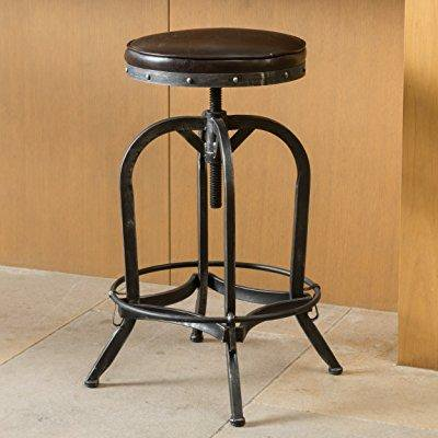 Amazing Dempsey Rustic Industrial Distressed Metal Swivel Adjustable Bar Stool Brown Bonded Leather Machost Co Dining Chair Design Ideas Machostcouk