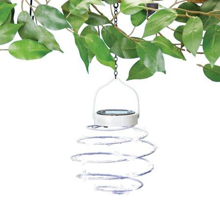 Solar Spiral Patriotic Hanging Lanterns - Outdoor Patriotic Decorative Accent for Yard or Garden,