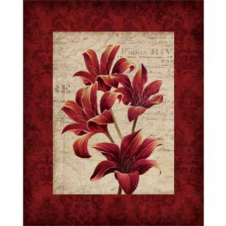 Three Realistic Lilies Damask Mat Vintage Newsprint Floral Painting Red & Tan Canvas Art by Pied Piper Creative - Lily Floral Art