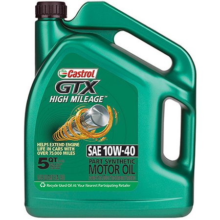 Castrol Gtx 10w 40 High Mileage Motor Oil 5 Qt