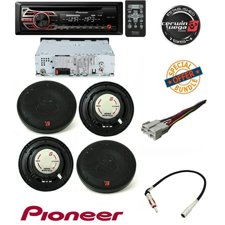pioneer deh-150mp single din car stereo with mp3 playback w/ cerwin vega  xed62