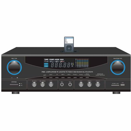 Pyle Home Pt4601aiu 500W Stereo Receiver with AM FM Tuner, Apple iPod Dock and Subwoofer Control by
