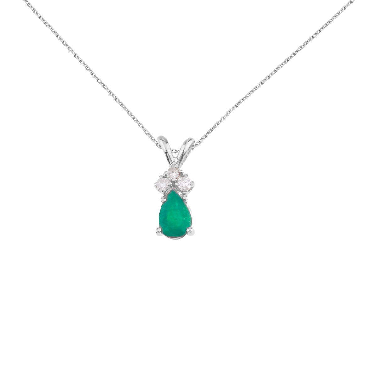 Direct 14K White Gold Pear Shaped Emerald Pendant with Di...