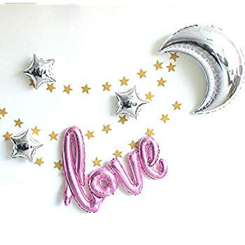 """42 Inch """"Love"""" and 36 Inch Moon Foil Air-filled / Helium Balloon for Party Proposal Valentine Present gift Wedding Baby Shower window dressing Birthday Festive Furnishing Decoration (Pink diamond Set)"""