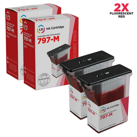 Compatible Replacements for Pitney Bowes Set of 2 Fluorescent Red 797-M inkjet cartridge for use in the MailStation2