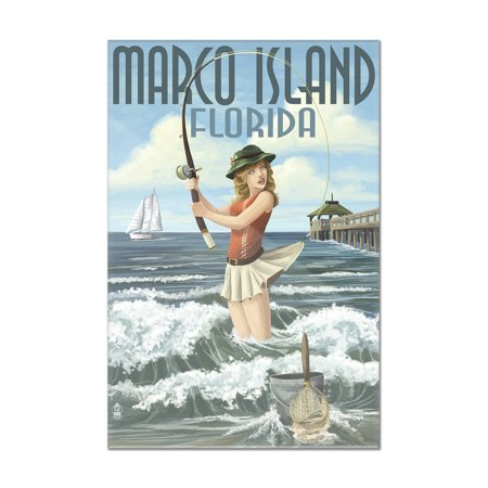 Marco Island, Florida - Pinup Girl Surf Fishing - Lantern Press Artwork (8x12 Acrylic Wall Art Gallery