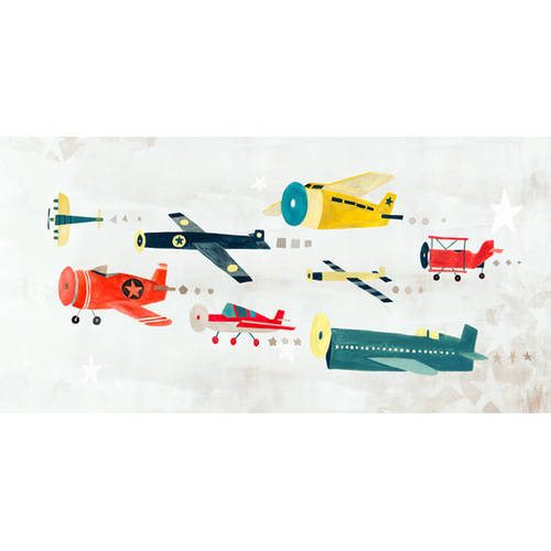Oopsy Daisy's Airplanes On The Move Canvas Wall Art, 24x12