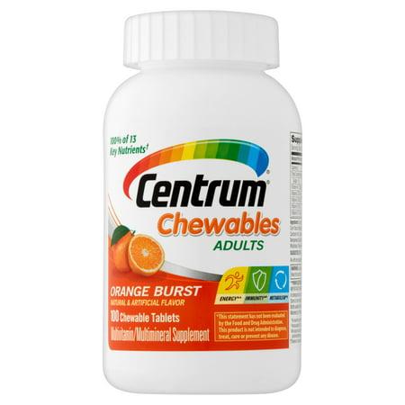 Centrum Chewables multivitamines / Supplément Multiminéraux saveur orange Burst 100 Nombre