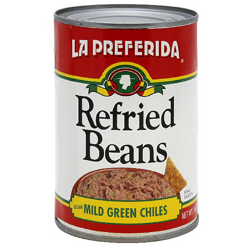La Preferida Refried Beans With Mild Green Chiles, 16 oz (Pack of 12)
