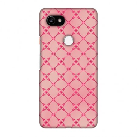 Hard Mesh Plastic Case - Google Pixel 2 XL Case - Tribal mesh- Airbrushed pink, Hard Plastic Back Cover, Slim Profile Cute Printed Designer Snap on Case with Screen Cleaning Kit
