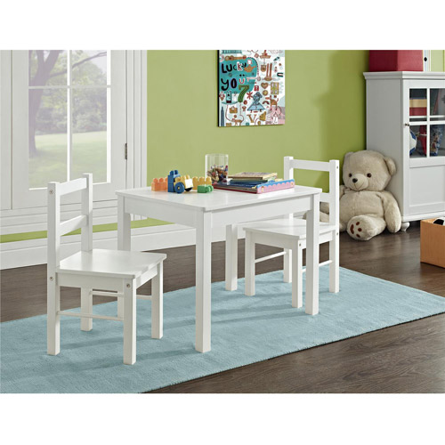 Hazel Kids 3-Piece Set Table and Chair, White