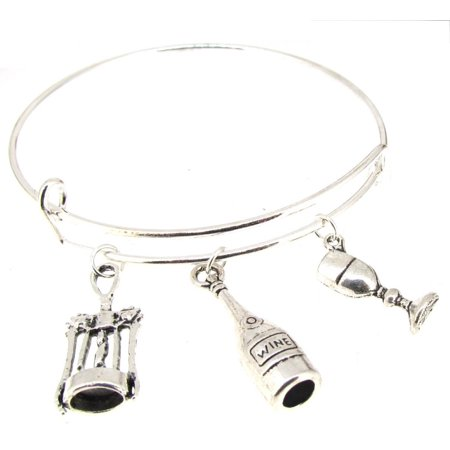 Silverplate Wine Bottle (Expandable Bangle Bracelet Wine Bottle Wine glass CorkScrew Silver)