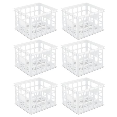 Sterilite Storage Crate White Case of 6