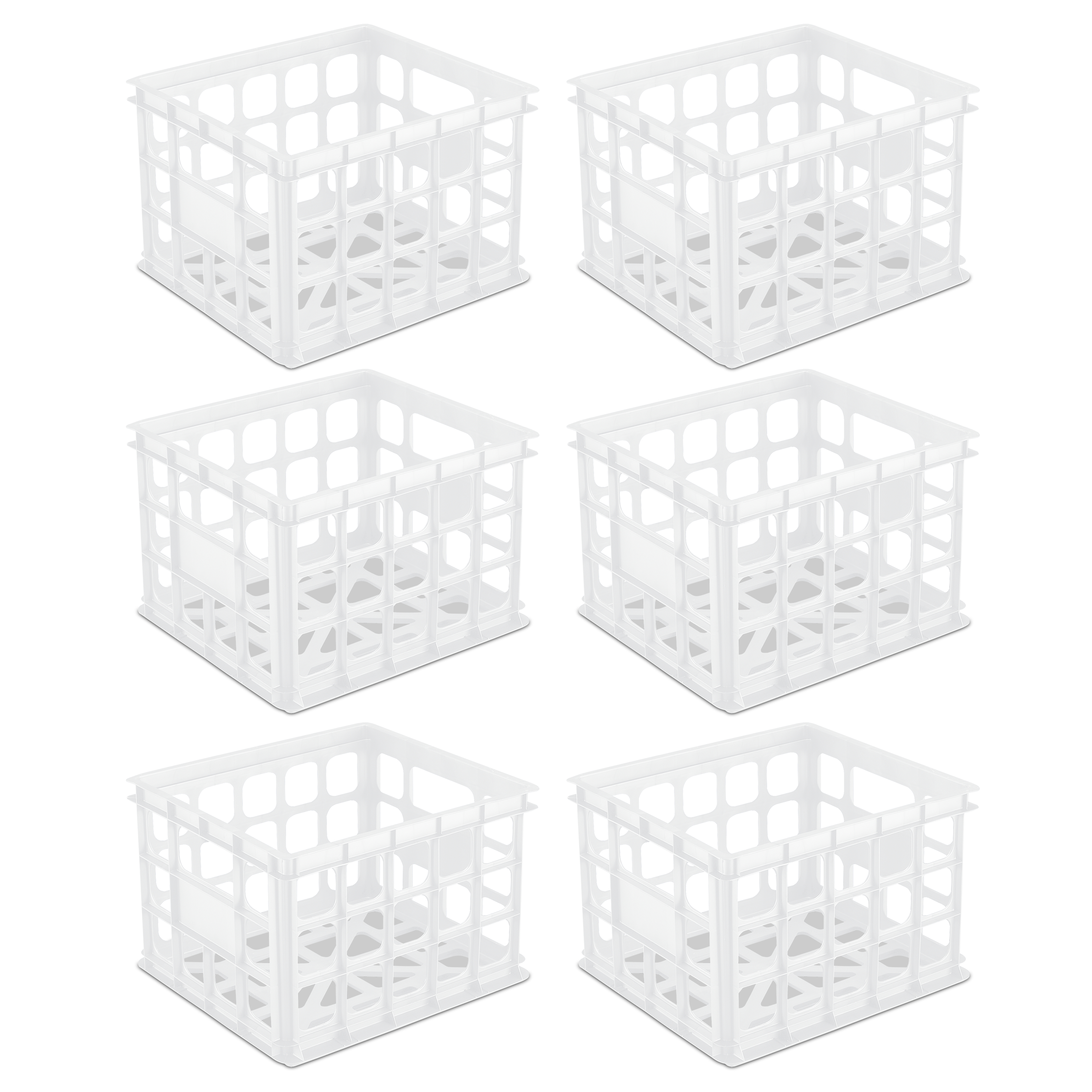 Sterilite, Storage Crate, White, Case of 6