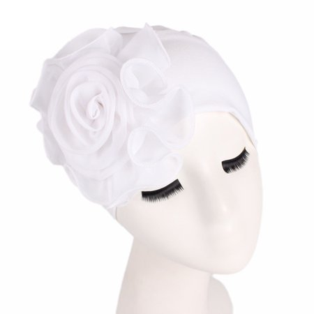 Women Ladies Retro Big Flowers Hat Turban Brim Hat Cap Pile Cap WH (Retro Fitted Hat Cap)