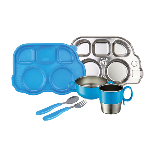 Innobaby Din Din Smart Stainless Steel Dinnerware Gift Set (Divided Plate, Sectional Lid, Cup, Bowl and Utensil Set) for Babies, Toddlers and Kids. BPA free, Blue