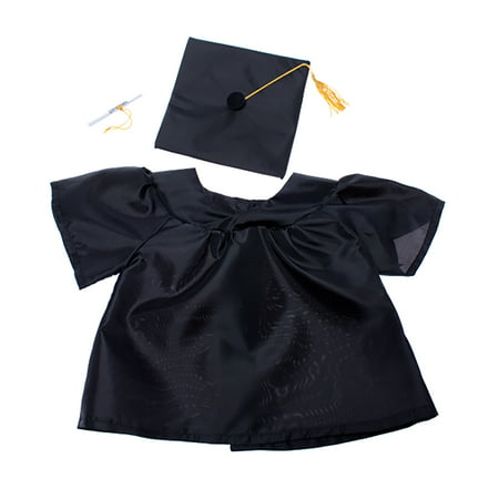 Black Pug Stuffed Animal (Graduation Gown w/Hat & Scroll Outfit Teddy Bear Clothes Fits Most 14