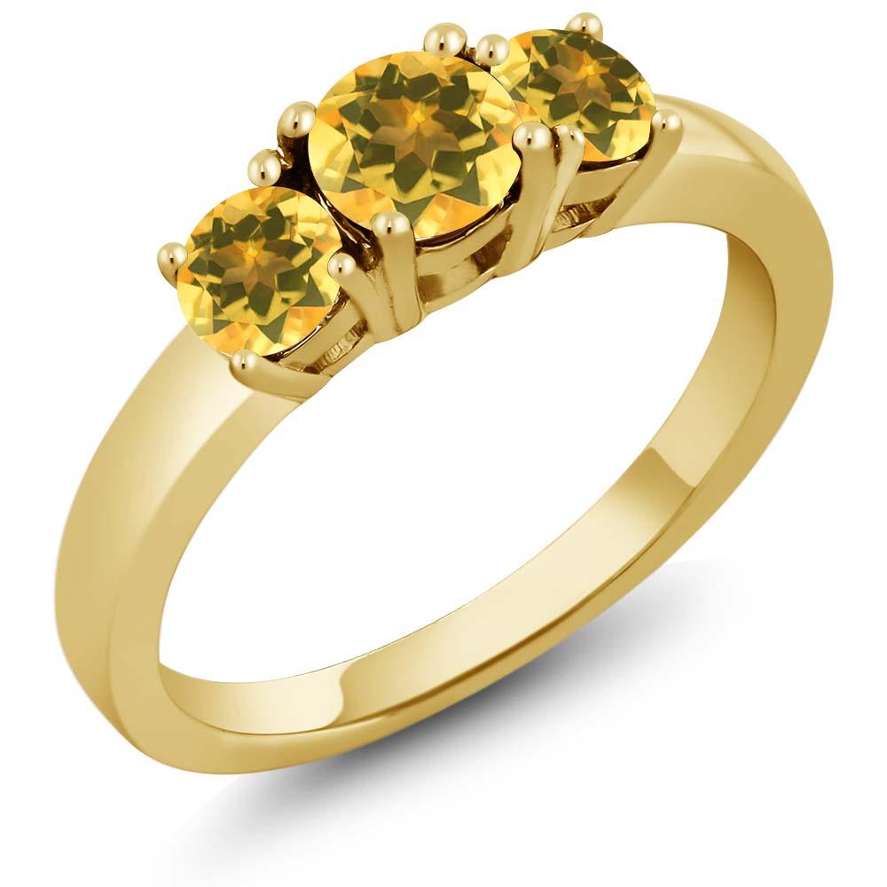 0.97 Ct Round Yellow Citrine 18K Yellow Gold Ring