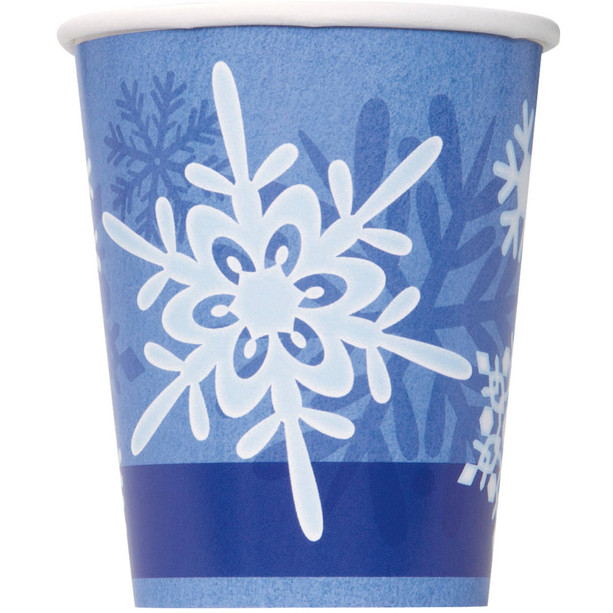 9oz Winter Snowflake Holiday Paper Cups, 8ct