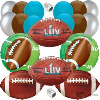 Super Bowl LIV 54 Party Decoration Ultimate 32pc Balloon Pack, Blue Brown