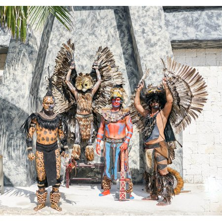 Canvas Print Warriors Mexican Mexico Aztec Costumes Posing Stretched Canvas 10 x 14 (Costume Mexico)
