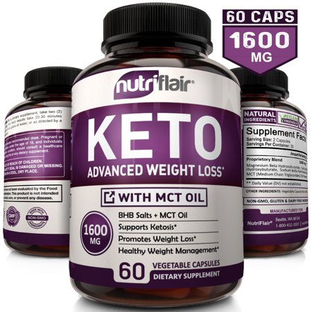 NutriFlair Keto Diet Pills 1600mg - Advanced Weight Loss Ketosis Supplement - BHB Salts (beta hydroxybutyrate) Ketogenic Carb Blocker and Fat Burner - Best Keto Capsules - Keto Pills for Women and (Best Fat Burner Without Losing Muscle)
