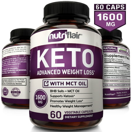 NutriFlair Keto Diet Pills 1600mg - Advanced Weight Loss Ketosis Supplement - BHB Salts (beta hydroxybutyrate) Ketogenic Carb Blocker and Fat Burner - Best Keto Capsules - Keto Pills for Women and (Best Supplements For Alzheimer's)