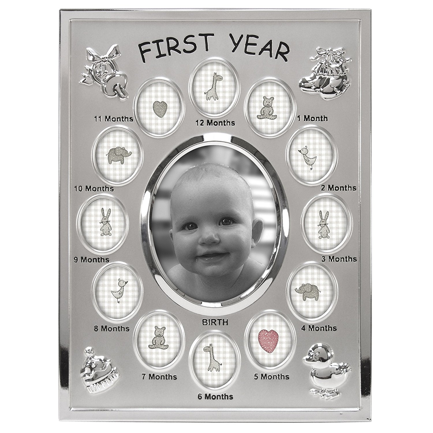 1 MONTH to 1 YEAR BABY FIRST YEAR PHOTO FRAME COLLAGE ROCKING HORSE DESIGN