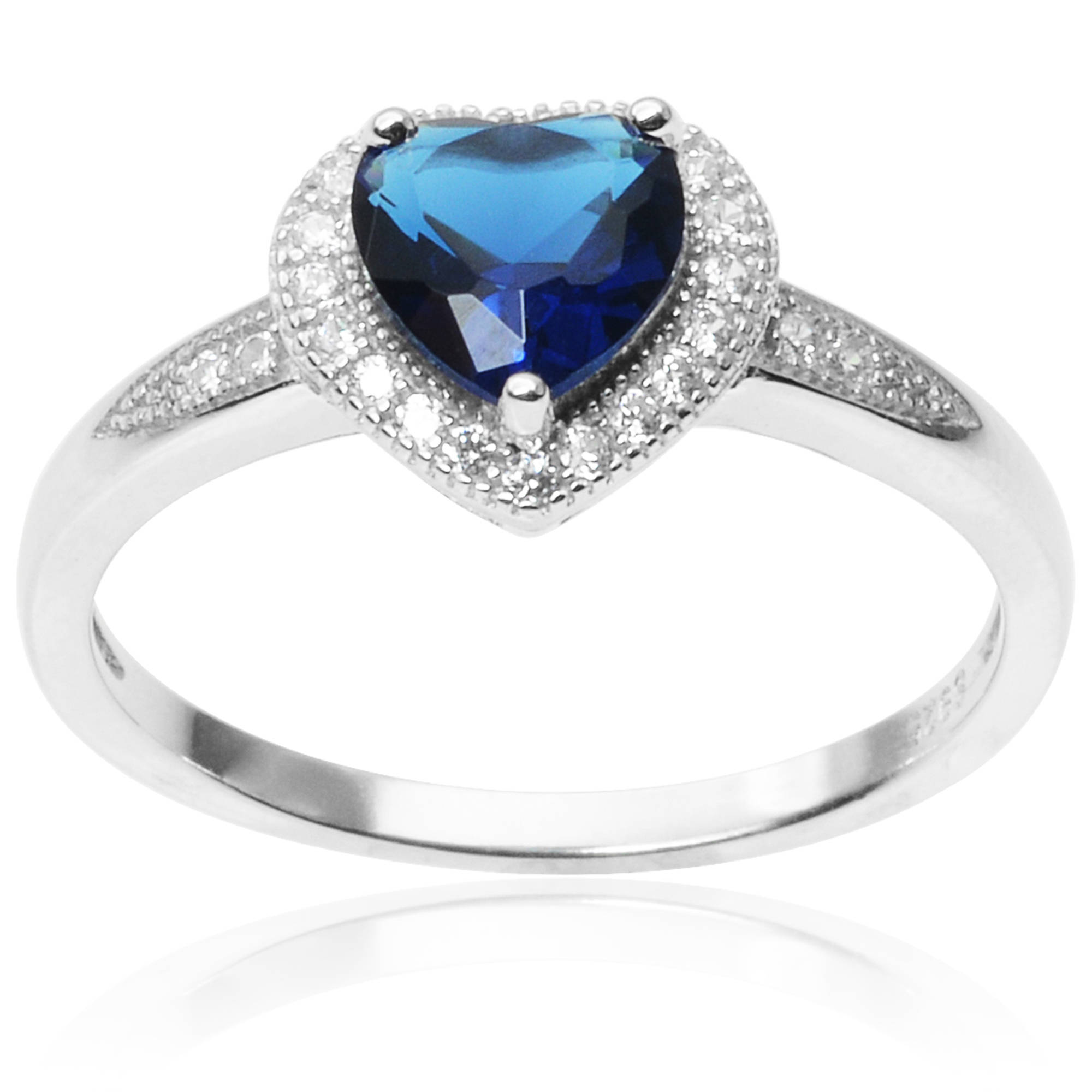 Alexandria Collection Sterling Silver 1 Carat T.G.W. Round Cubic Zirconia Heart Ring