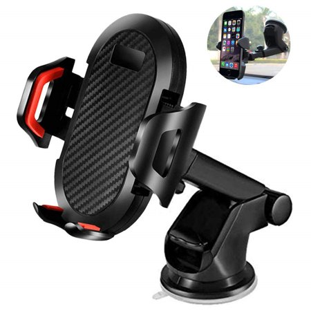 Car Phone Mount Smart Phone Holder for Car 2 in 1 Dashboard Windshield & Air Vent Universal Fit Mobile Phone Cradle with Adjustable Knob One Click Release Button for iPhone Xs MAX XR X Samsung