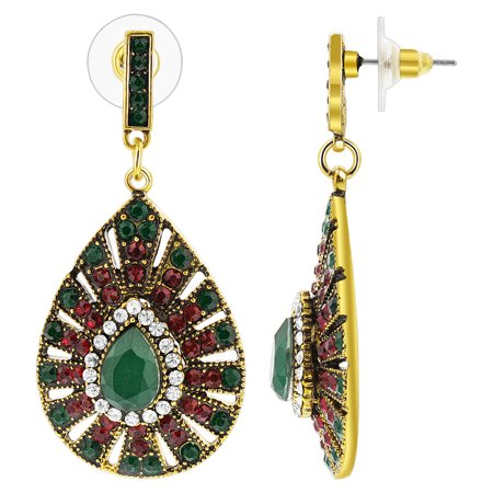 Avenue Mary Janes - Gem Avenue Gold Plated Simulated Post Back Turkish Drop Earrings with Emerald & Ruby