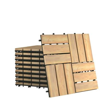 Gymax 10PCS 12'' x 12'' Acacia Wood Deck Tiles Interlocking Patio Pavers Check Pattern