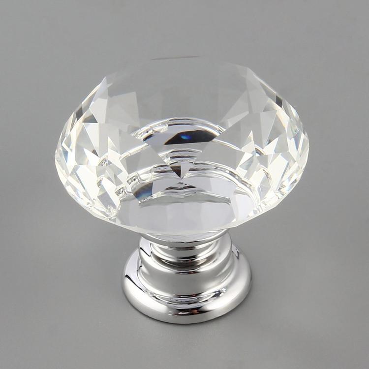 10Pcs 30mm Diamond Shape Crystal Glass Knob Cupboard Drawer Pull Handle New