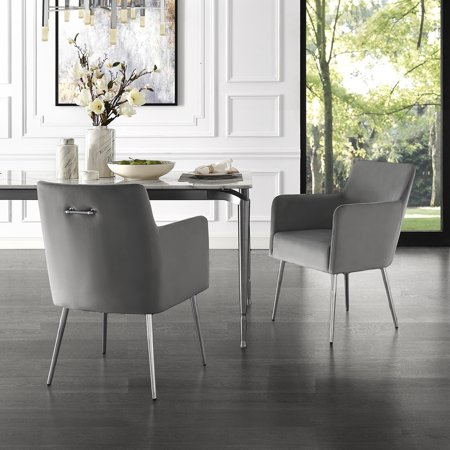 Donati Light Grey Velvet Dining Chair Set Of 2