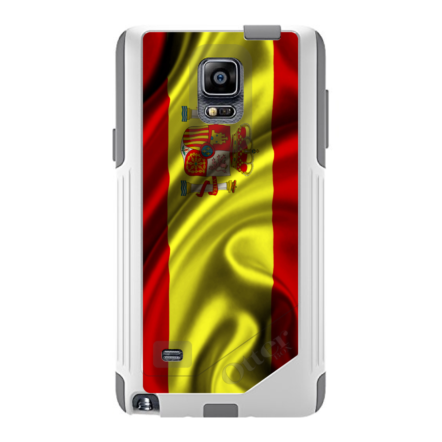 CUSTOM White OtterBox Commuter Series Case for Samsung Galaxy Note 4 Spain...