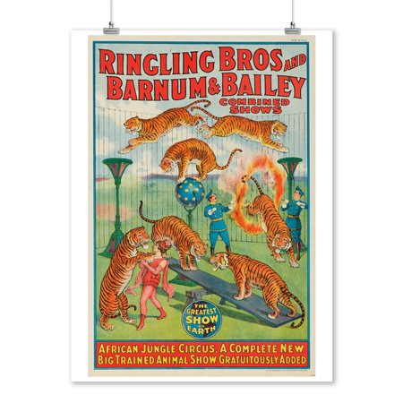 Ringling Bros and Barnum & Bailey - African Jungle Circus (window card) Vintage Poster USA c. 1922 (9x12 Art Print, Wall Decor Travel Poster)