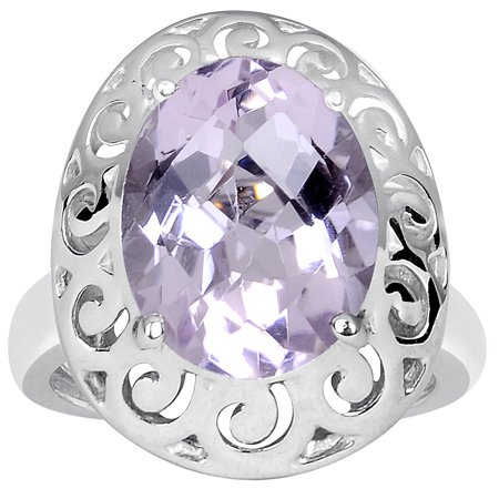 4.80 Carat Pink Amethyst 925 Sterling Silver Filigree Ring Size -8