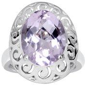 4.80 Carat Pink Amethyst 925 Sterling Silver Filigree Ring Size -8